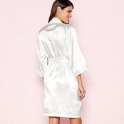 The Collection - Ivory 'Mrs R' Satin Dressing Gown