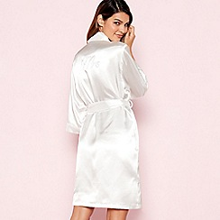 The Collection - Ivory 'Mrs' Satin Dressing Gown