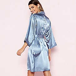 The Collection - Blue 'Mother Of the Bride' Satin Wrap Dressing Gown