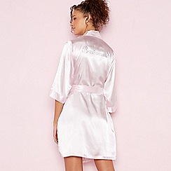 The Collection - Light Pink 'Bridesmaid' Satin Dressing Gown