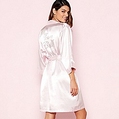 The Collection - Pink 'Team Bride' Satin Dressing Gown