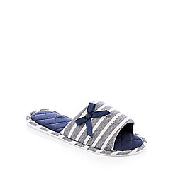 Lounge & Sleep - Navy Stripe Print Mule Slippers