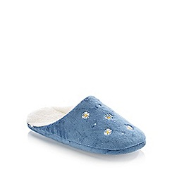 Lounge & Sleep - Mid Blue Daisy Embroidered Mule Slippers