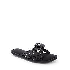 Lounge & Sleep - Black Polka Dot Bow Open Toe Slippers