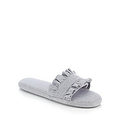 Lounge & Sleep - Grey Frill Trim Mule Slippers