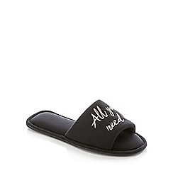 Lounge & Sleep - Black Slogan 'All You Need Is Sleep' Mule Slippers