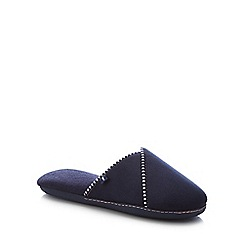 Totes - Navy Stripe Trim Mule Slippers