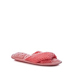 Totes - Pink '360 Surround Comfort' Open Toe Mule Slippers