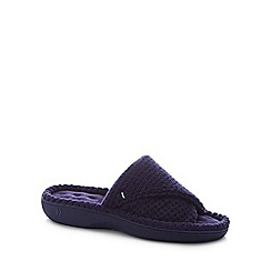 Totes - Navy '360 Surround Comfort' Open Toe Mule Slippers