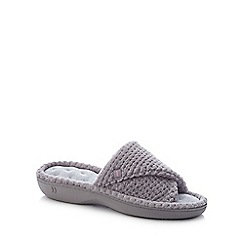 Totes - Grey '360 Surround Comfort' Open Toe Mule Slippers