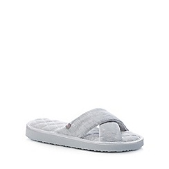 Totes - Grey Heart Print Cross Strap Slippers