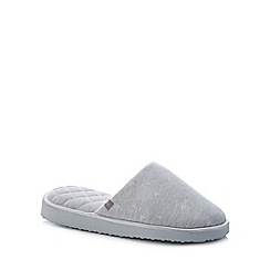 Totes - Grey Heart Print Open Toe Mule Slippers