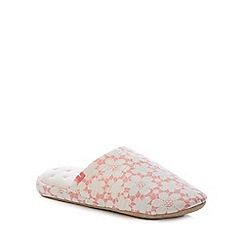 Totes - Pink Floral Close Toe Mule Slippers