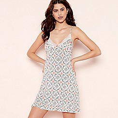 Lounge & Sleep - Pink Floral Tile Print 'Frost' Chemise