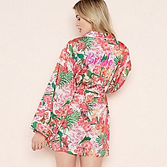 The Collection - Pink Floral Print 'Ibiza Bride' Dressing Gown