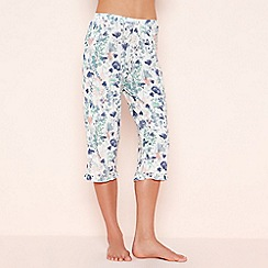 Lounge & Sleep - Cream Floral Print Cropped Pyjama Bottoms