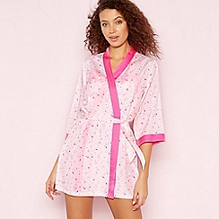 The Collection - Pale Pink Star Print ' Mimi' Satin Dressing Gown