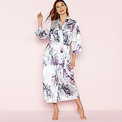 9f889f4d16 The Collection - Light Purple Floral Print  Venus  Satin Long Dressing Gown