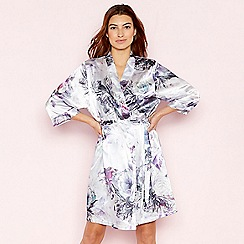The Collection - Light Purple Floral Print 'Venus' Satin Dressing Gown