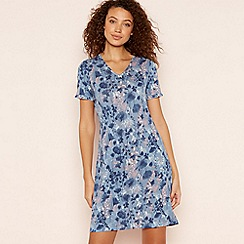 Lounge & Sleep - Mid Blue Floral Print 'Meadow' Sleeptee