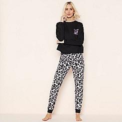 Lounge & Sleep - Black Leopard Print Pyjama Set