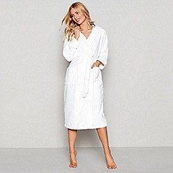 J by Jasper Conran - White towelling hooded dressing gown