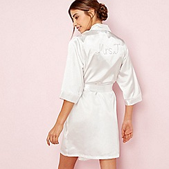 The Collection - Ivory bridal 'Mrs J' satin dressing gown