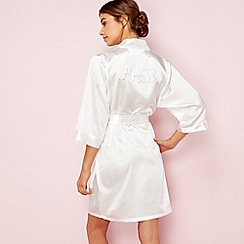 The Collection - Ivory bridal 'Mrs B' satin dressing gown