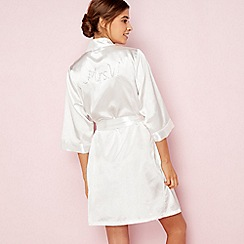 The Collection - Ivory bridal 'Mrs W' satin dressing gown