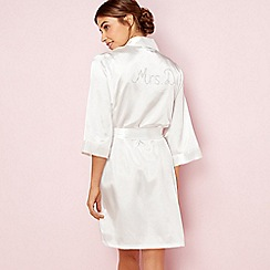 The Collection - Ivory bridal 'Mrs D' satin dressing gown