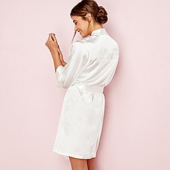 The Collection - Ivory bridal 'Mrs R' satin dressing gown
