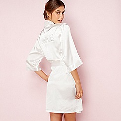 The Collection - Ivory bridal 'Mrs E' satin dressing gown