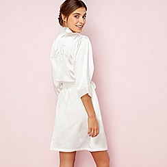 The Collection - Ivory bridal 'Mrs G' satin dressing gown