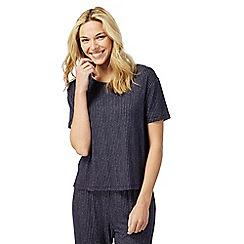 Lounge & Sleep - Blue broken stripe print short sleeve pyjama top