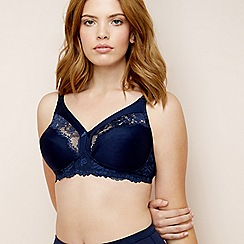 The Collection - Navy cotton blend 'Gwen' non-wired non-padded full cup bra