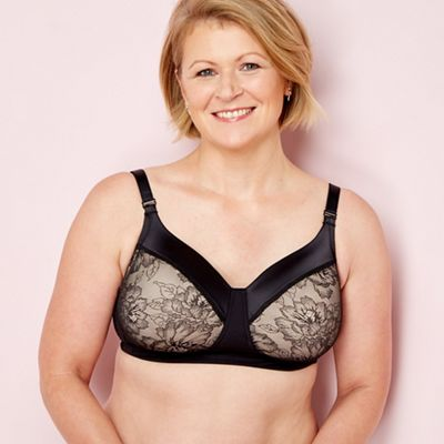 d600f34178 The Collection Black lace satin non-wired padded mastectomy bra ...