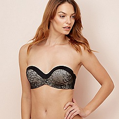 The Collection - Black lace underwired padded 24 hour strapless silicone free multi-way bra
