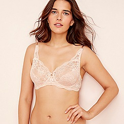 Triumph - Beige lace 'Amourrette Charm' underwired non-padded plunge bra