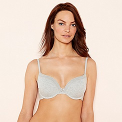 The Collection - 2 pack grey and white cotton blend underwired padded t-shirt bra