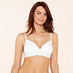 The Collection - 2 pack white cotton blend non-wired padded t-shirt bra