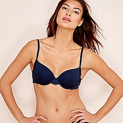 The Collection - Navy lace cotton blend underwired padded t-shirt bra