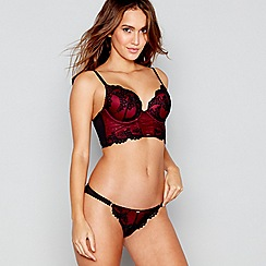 Gossard - Red floral lace underwired padded plunge bra