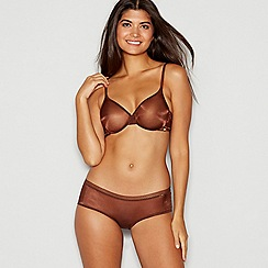 Gossard - Chocolate brown sheer 'Glossies' underwired non-padded balcony bra