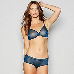 Gossard - Bright blue 'Glossies' sheer mesh underwired non-padded plunge bra