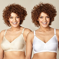 The Collection - 2 pack white and nude non-wired non-padded full cup bras