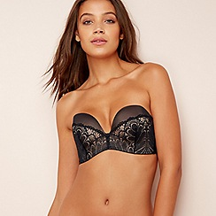 Wonderbra - Black underwired padded strapless bra
