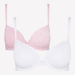The Collection - 2 pack pink and white underwired padded t-shirt bras