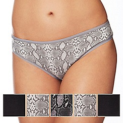 The Collection - 5 pack black and grey plain and snakeskin print bikini knickers