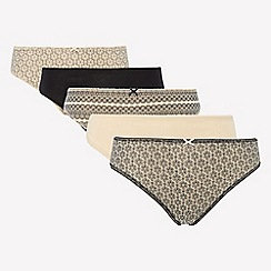 The Collection - 5 pack cotton blend high leg knickers