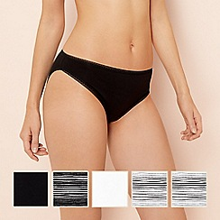 The Collection - 5 pack black stripe print cotton high leg knickers